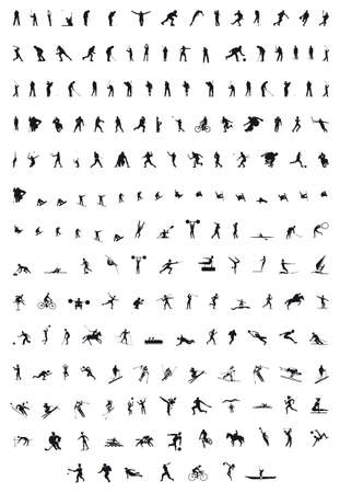 sporting people silhouettes