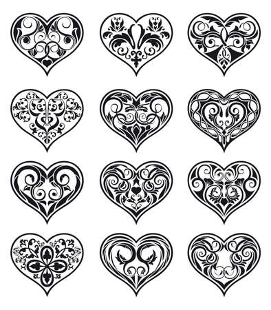 heart shaped leaves: Set of mixed Valentine ornamental heart-shaped floral classical decorations in Arabesque style