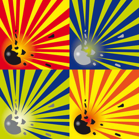 shrapnel: set of abstract explosions background in four colour combinations Illustration