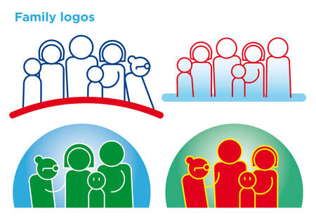 set of different family symbols outline for politics local campaign Vector