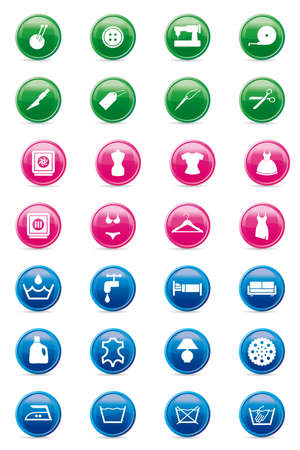 set of mixed laundry and tailoring icons on glossy buttons Stock Vector - 13067388
