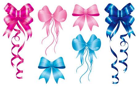 ホチキスで生まれ、ピンクのリボンの設定およびライト ブルーの新しい赤ちゃんの誕生