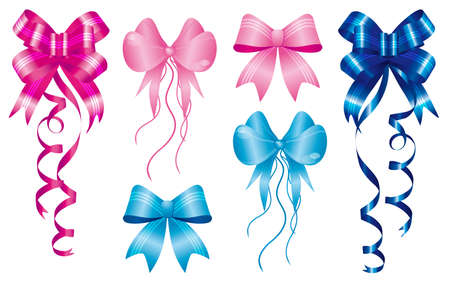 pink ribbons: staple birth to new baby born, set of ribbons in pink and light-blue Illustration