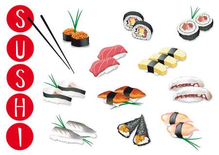 far east: conjunto de piezas de sushi japoneses ilustraciones