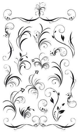 一連の花飾りと花輪黒い白と書き込み