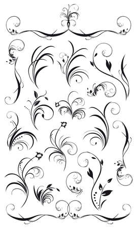 set of floral decorations and garlands in black insolated on white Archivio Fotografico
