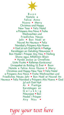 Christmas greetings tree in different languages Illustration