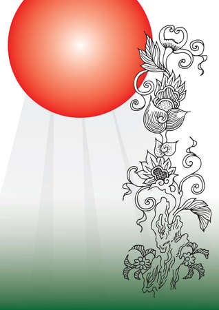 japanese flower background Stock Vector - 15163072