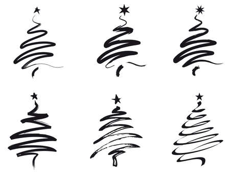 brush stroke: paint brush stroke Christmas trees in black Illustration