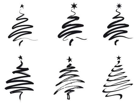 dibujos lineales: pintar los árboles de Navidad en movimiento del cepillo negro
