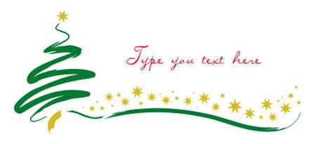 브러시 스트로크 나무와 크리스마스 인사말 카드 일러스트