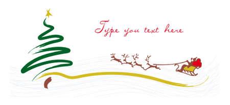 クリスマス ツリーとサンタ クロースのグリーティング カード  イラスト・ベクター素材