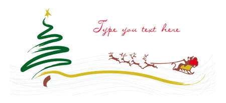 christmas greetings card with Santa Claus and tree