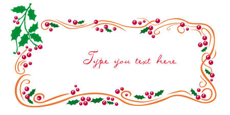 Christmas greetings frame with mistletoe Vector