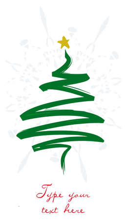 ブラシ ストローク ツリーとクリスマスのグリーティング カード