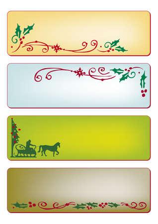 4 つの異なる色でクリスマスのバナー  イラスト・ベクター素材