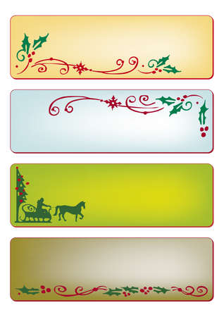 Christmas banners in four different colors Illustration
