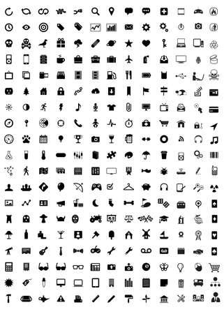 icona: raccolta di molti affari mezzi di comunicazione di imballaggio viaggio di lavoro icone isolato in nero