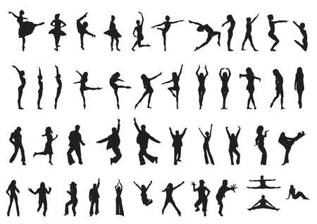 collection of different dancers silhouettes in black isolated on white background Vettoriali