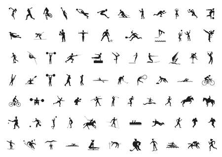 set of black sport silhouettes Vector
