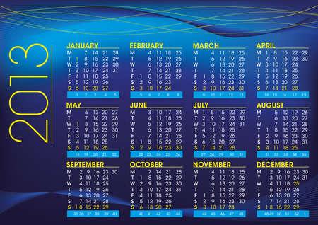 2013 night mood calendar in english language Stock Vector - 16060080