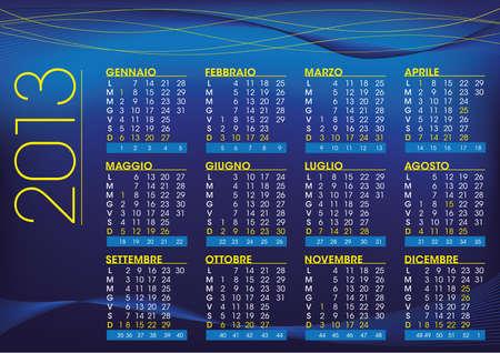 2013 night mood calendar in italian language Stock Vector - 16060083