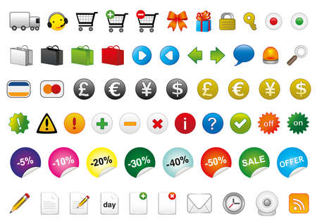 set of different e-commerce, web communications and on-line shop icons Vector