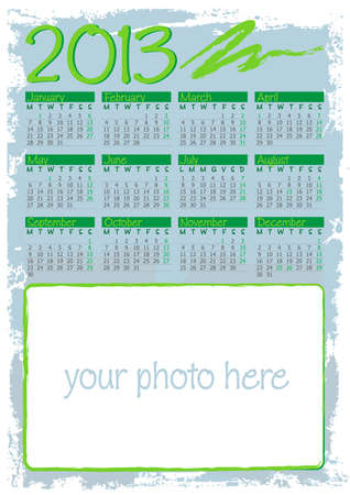 grunge framed calendar 2013 in english with blank space for photos Vector