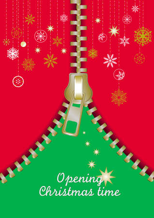 greetings card with an opening gold Zip make a Christmas abstract tree Stock Vector - 16461788