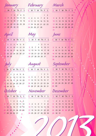2013 abstract pink wave design calendar in english Vector