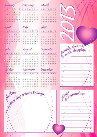 2013 pink wave calendar girl style with photo and text frames Stock Vector - 16593915
