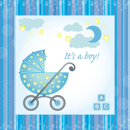sample for baby boy birth gretings card Stock Vector - 18227737