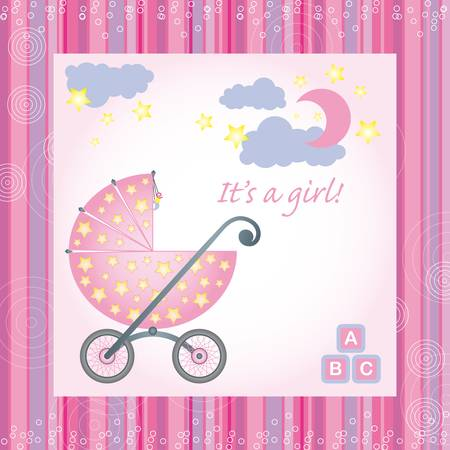 rollers: sample for baby girl birth gretings card