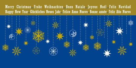 Christmas greetings card with hanging snowflakes in five different languages Stock Vector - 18227732