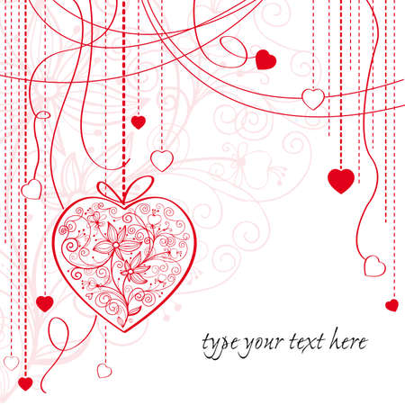 Valentine card with hanging decorative hearts Stock Vector - 18227729