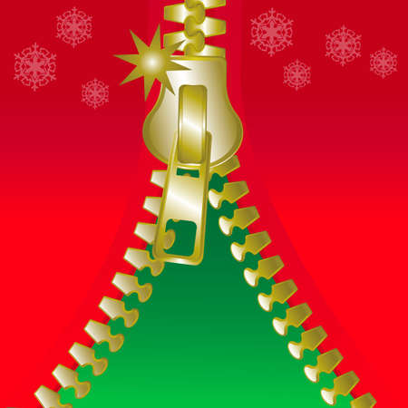 Christmas open golden metalic zip square greetings card, seasonal mood Stock Vector - 18227764