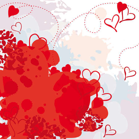 grunge painted heart postcard or invitation design for Valentine Stock Vector - 18227740