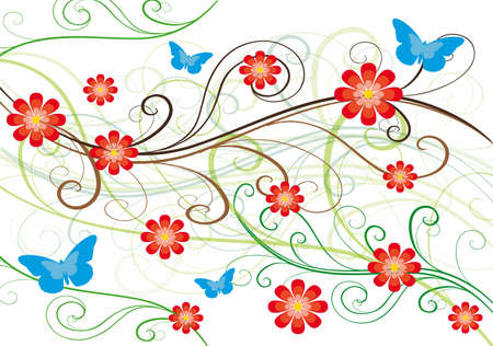 red flowers and butterflyes, abstract natural theme background decoration Vector