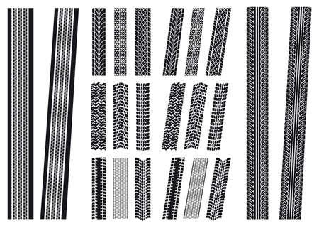 Reihe von verschiedenen Reifen-Aufdrucke, vertikale und diagonale Standard-Bild - 18227822