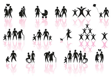 set of family and couple icons