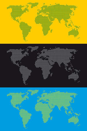 stippled:  stippled world map background in three colours combinations Illustration