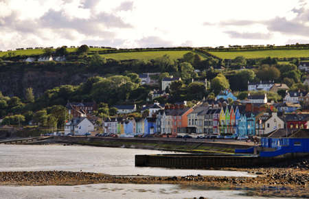coloured village on Irish Antrim coast Stock Photo