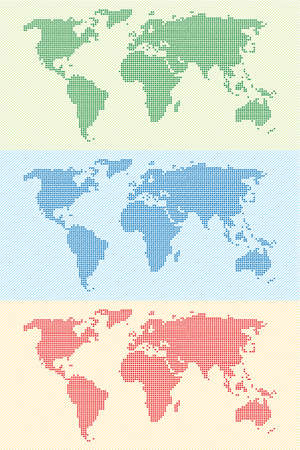 stippled: strippled world map background in three colours combinations on diagonal lines pattern