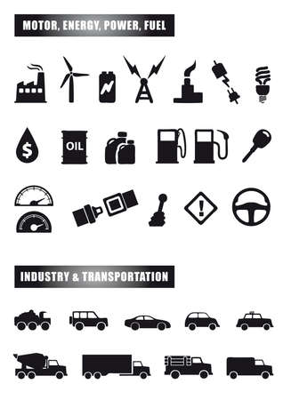 set of black icon silhouettes of motor Vector