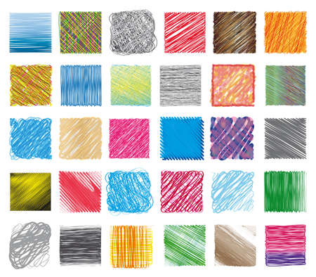 color swatches: set of coloured swatches and textures Illustration
