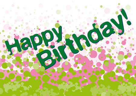 Happy birthday greetings card with green and pink bubbles on background Stock Vector - 18260411