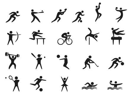 set of different sport icons in black isolated on white background Vettoriali