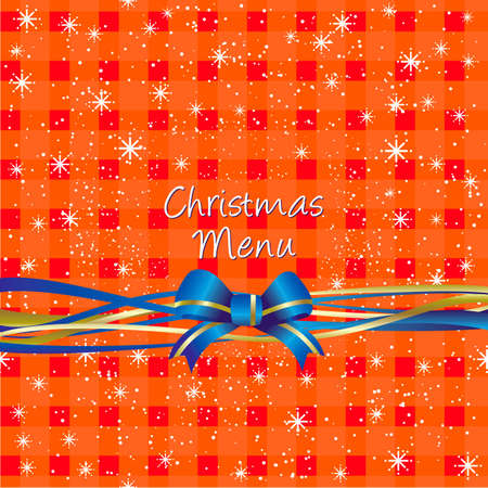 Christmas red table-cloth background with stars and ribbon for menu design cover or present Vector