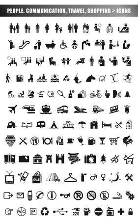set of people, communication, travel and shopping icons in black isolated on white