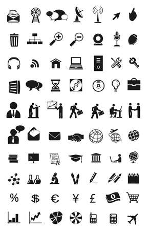 set of different icons in black for communications, people, job, science and technology